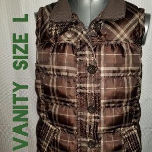 SALE! Vanity Brown Satin Plaid Puffer Vest